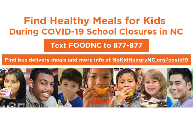 You can now text FOODNC to 877-877 to find meals for kids near you in NC.