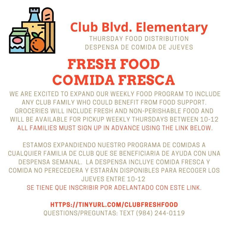 Club Blvd. Fresh Food Distribution/Despensa de Comida