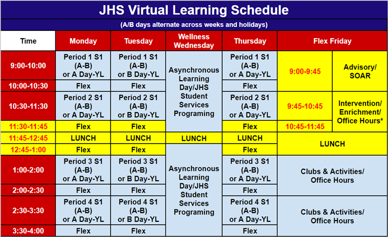 JHS Virtual Learning Schedule (Updated)