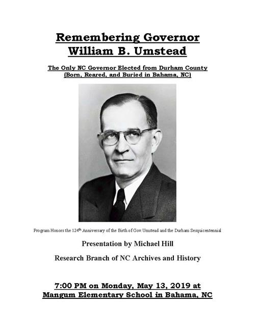 Remembering Governor William B. Umstead