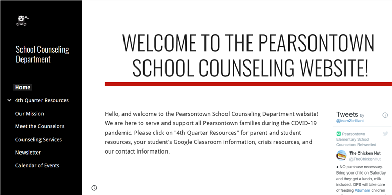 Support for Students During COVID-19: Pearsontown School Counseling Website