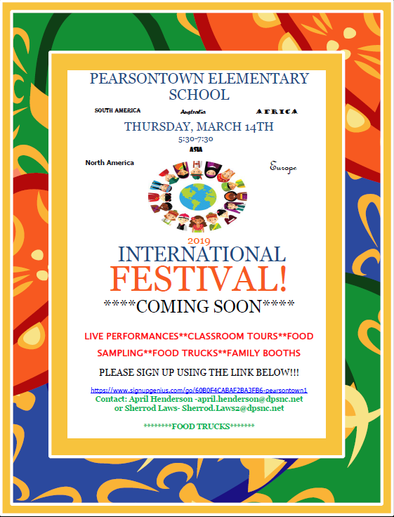 Pearsontown's International Festival is March 14, 2019