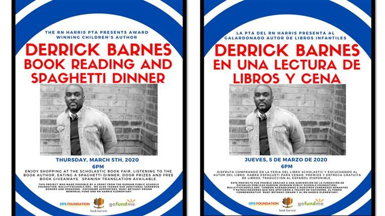 Author Derrick Barnes will join us on March 5th for our Book Fair Family Spaghetti Dinner.