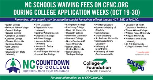 Free NC College Application Weeks