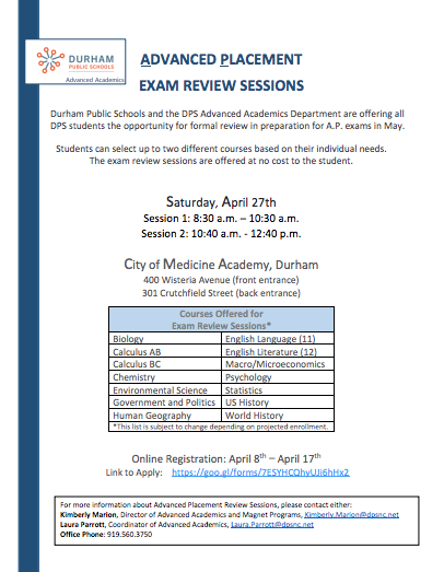 FREE A.P. Test Prep Sessions