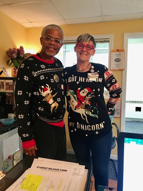 Nice sweaters Mr. Pollard and Ms. Satterfield