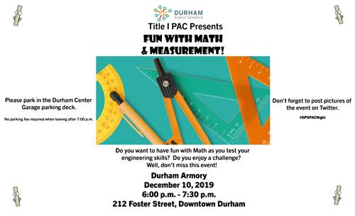 District Math Night - December 10 - Durham Armory