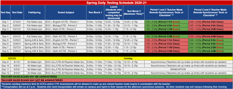 JHS Spring Testing Schedule 2021